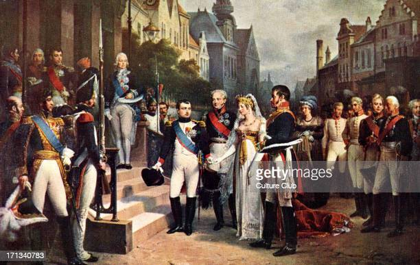 Napoléon Bonaparte receives Queen Louise of Prussia at Tilsitt 6 July 1807 Next to her are Tsar Alexander I and King Friedrich Wilhelm III Napoleon I...