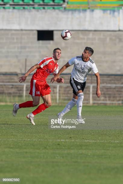 Napredak forward Aleksa Vukanovic from Serbia vies with SL Benfica defender Andre Almeida from Portugal for the ball possession during the Benfica v...
