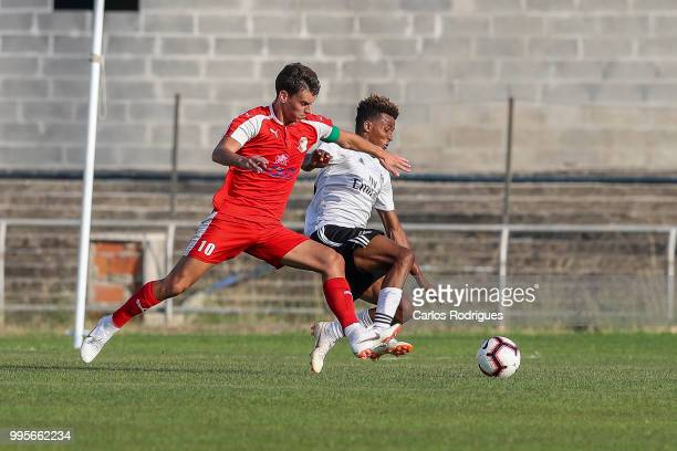 Napredak midfielder Milos Vulic from Serbia vies with SL Benfica midfielder Gedson Fernandes from Portugal for the ball possession during the Benfica...