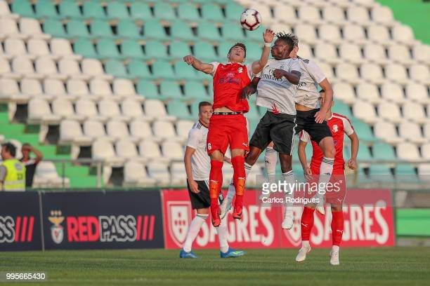 Napredak midfielder Nikola Eskic from Bosnia Herzegovina vies with SL Benfica midfielder Alfa Semedo from Guinea Bissau for the ball possession...