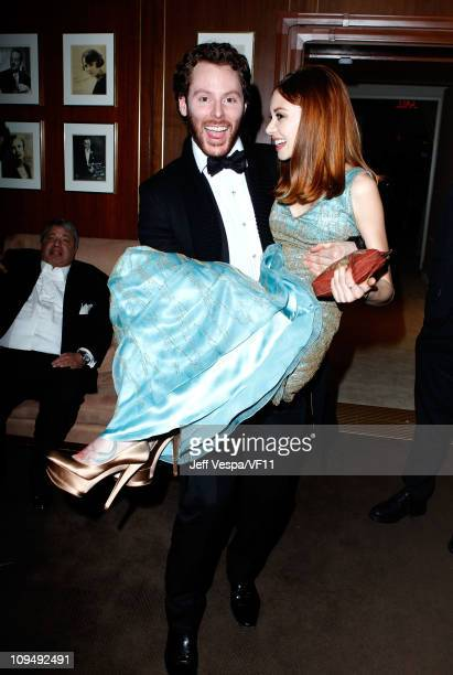 Napster founder and Facebook's founding president Sean Parker and guest attend the 2011 Vanity Fair Oscar Party Hosted by Graydon Carter at the...