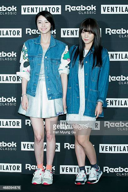 Nara and Lime of South Korean girl group Hello Venus attend Reebok Classic 'Ventilator' Launch Party on April 2 2015 in Seoul South Korea