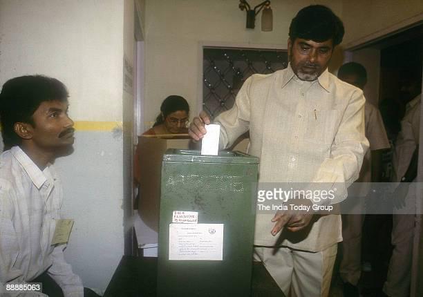 Nara Chandrababu Naidu Chief Minister Andhra of Pradesh casting his Vote in the Ballot Box