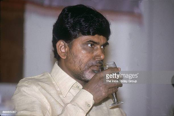 Nara Chandrababu Naidu Chief Minister of Andhra Pradesh drinking