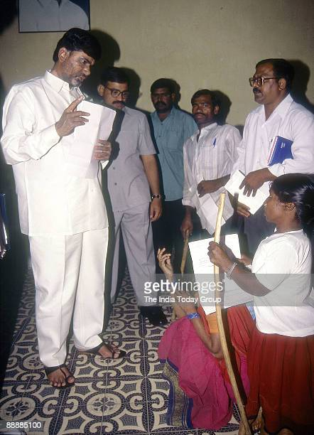 Nara Chandrababu Naidu Chief Minister of Andhra Pradesh meeting public and listening to their problems at his office