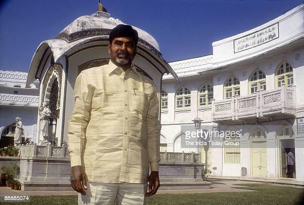 Nara Chandrababu Naidu Chief Minister of Andhra Pradesh standing in front of a Church