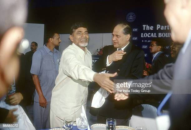 Nara Chandrababu Naidu Chief Minister of Andhra Pradesh with Rahul Bajaj and other Industrialists