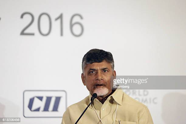 Nara Chandrababu Naidu chief minister of India's State of Andhra Pradesh speaks at the World Economic Forum India Economic Summit in New Delhi India...