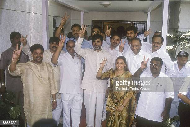 Nara Chandrababu Naidu President of the party showing Victory Sign with Jayaprada and party leaders expecting Election Results