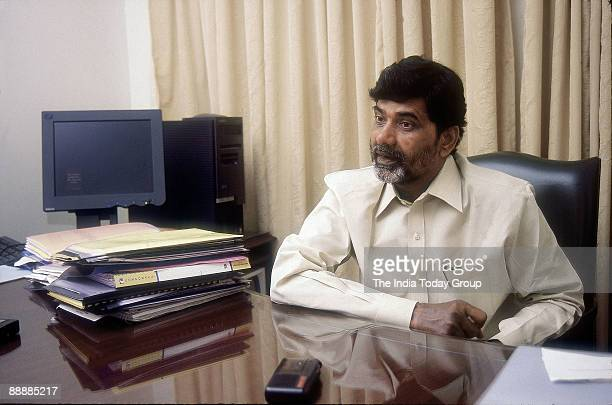 Nara Chandrababu Naidu President of the Party sitting in his office
