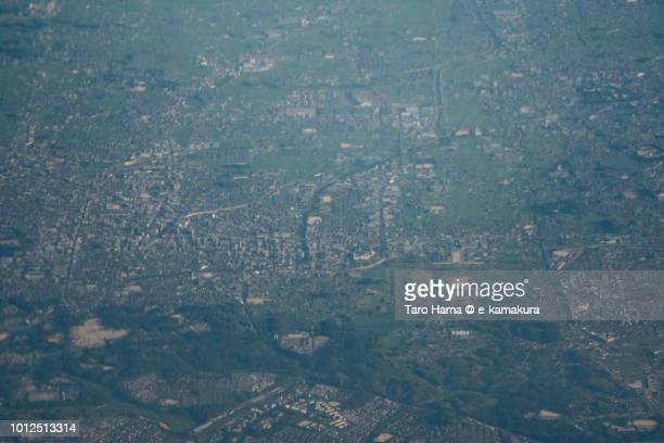 Nara city in Nara prefecture in Japan sunset time aerial view from airplane