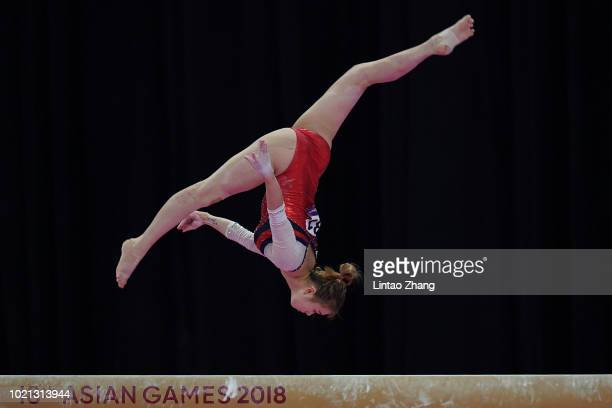 Narae Yun of Korea competes on the Balance Beam during the Artistic Gymnastics of the Women's Team Final at the Jiexpo Hall on day four of the Asian...