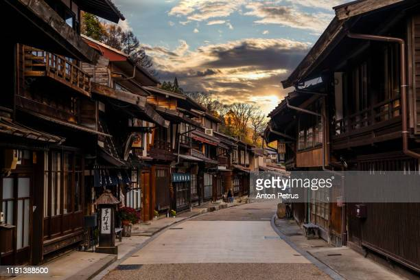 narai-juku, japan. picturesque view of old japanese town - famous place ストックフォトと画像