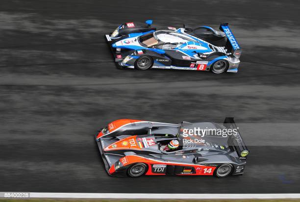 Narain Karthikeyan driving the Kolles Audi R10 and Franck Montagny driving the Team Peugeot Total Peugeot 908 during practice for the 77th running of...