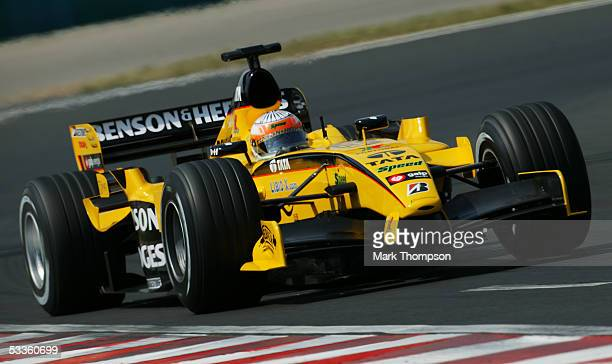 Narain Karthikeyan of India and Jordan during the practice session for the Hungarian F1 Grand Prix at the Hungaroring on July 29 2005 in Budapest...