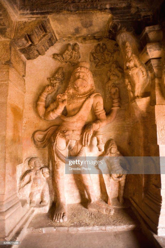 Narasimha avatar at Badami cave, Bagalkot, Karnataka, India : Stock Photo