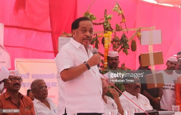 Narayan Rane with local citizens from Rajapur Taluka place in Ratnagiri district of Maharashtra protested at Azad Maidan against the proposed Nanar...