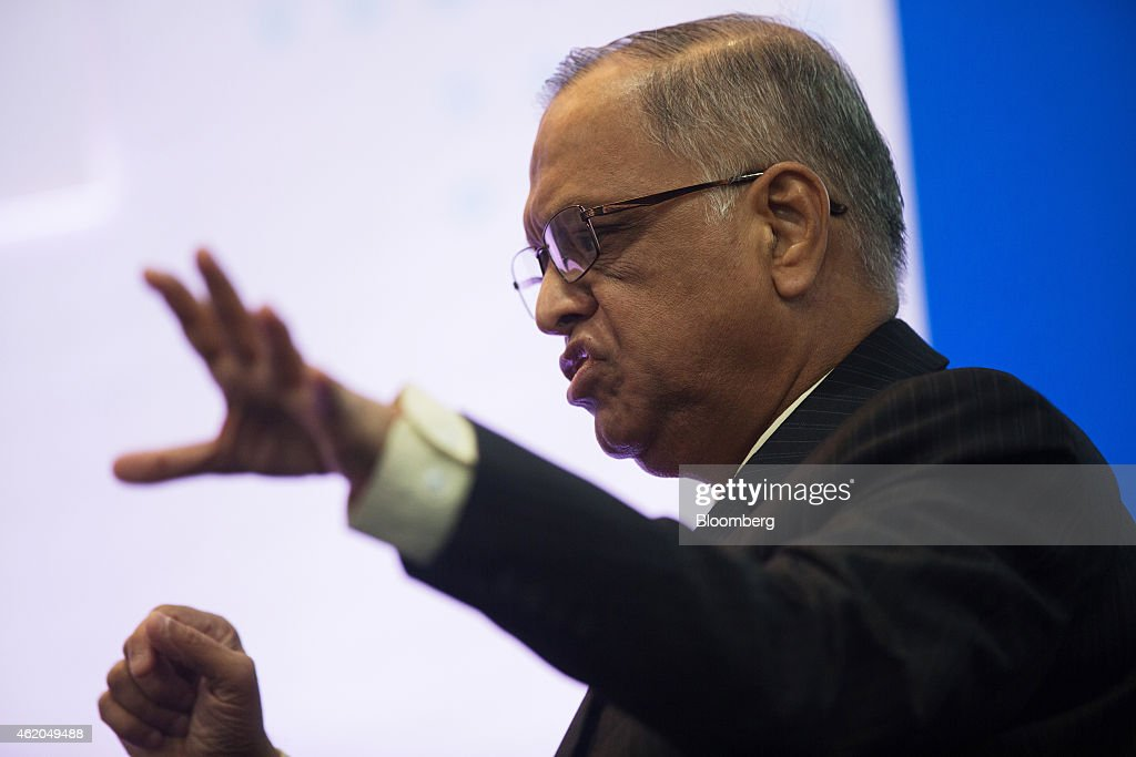 N.R. Narayana Murthy, co-founder and chairman of Infosys Ltd., gestures as he speaks during the Hong Kong Asian Financial Forum (AFF) in Hong Kong, China, on Monday, Jan. 19, 2015. The Asian Financial Forum runs through Jan. 20. Photographer: Jerome Favre/Bloomberg via Getty Images