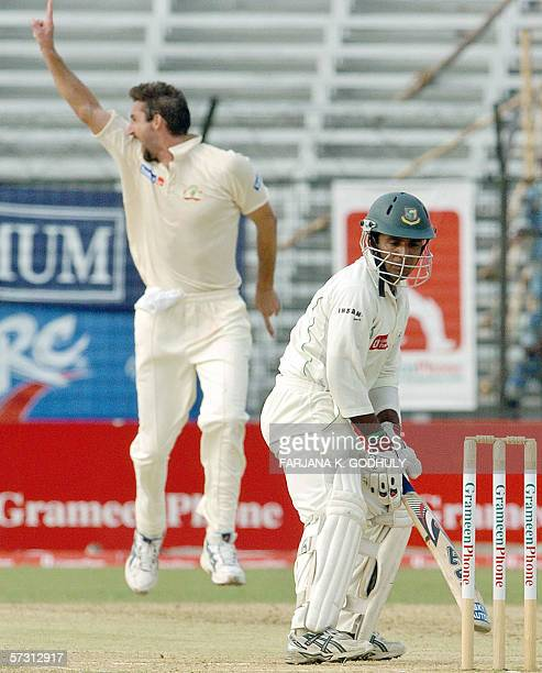 Australian cricketer Jason Gillespie successfully appeals for a Leg Before Wicket decision against Bangladeshi batsman Javed Omar during the third...