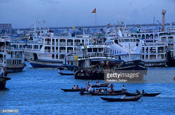 Narayanganj Port is the river port for Dhaka one of the oldest and biggest in Bangladesh | Location Narayanganj District Bangladesh
