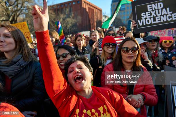 Narbada Chhetri of Queens left during a #DayWithoutAWoman protest at Washington Square Park on Wednesday March 8 2017 in Manhattan NY The protest was...
