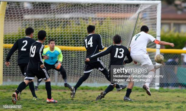 Narbonne's lone goal came on this kick by Carlos Lopez, right, as his shot sneaks into the right side of the goal in Harbor City, CA on...