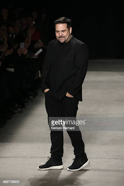 Narciso Rodriguez walks the runway at the Narciso Rodriguez fashion show during MercedesBenz Fashion Week Fall 2015 at SIR Stage37 on February 17...