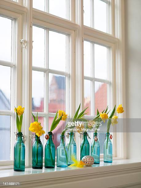 Narcisses in bottles on window sill