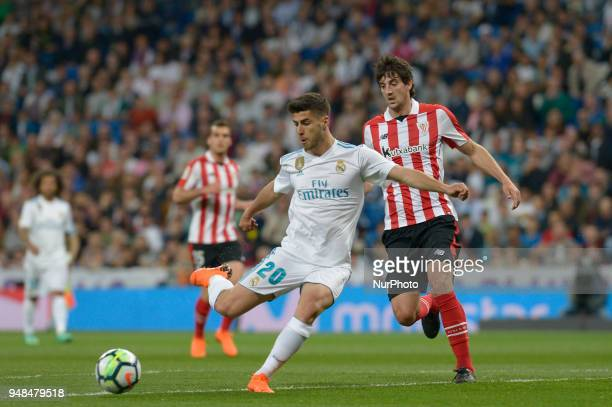Narcos Asensio of Real Madrid fight the ball with San Jose of Athletic Bilbao during a match between Real Madrid vs Athletic Bilbao for La Liga...
