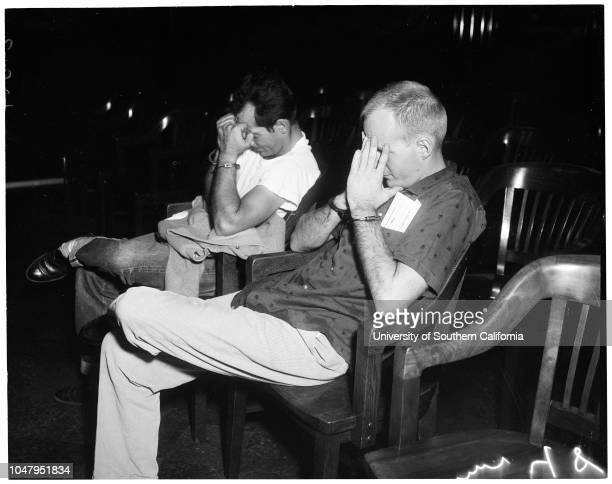 Narcotic arraignment August 15 1960 Richard WatsonDonald ClairCaption slip reads 'Photographer Mitchell Date Reporter Coney Assignment Narcotic...