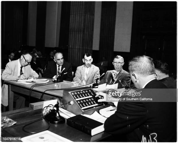Narcotics hearing 18 June 1958 General views of hearingGoscoe O FarleyMrs Edgar F MauerCaption slip reads 'Photographer Wilson Date 0618 Reporter...