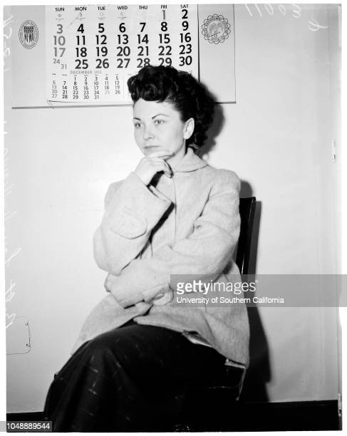 Narcotics , January 7 1954. Betty Lou Williams -- 21 years .;Caption slip reads: 'Photographer: Wyman. Date: . Assignment: Narcotics -- county jail....
