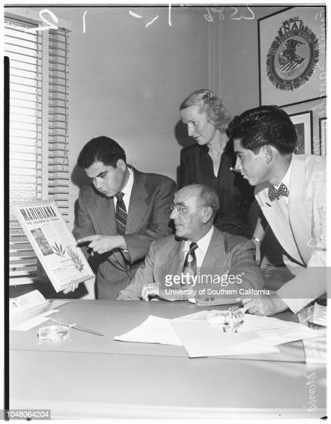 Narcotics meeting 15 August 1951 Frank SanchezClarence H MorrisRoland Ayala Mrs Douglas JardineCaption slip reads 'Sunday Photographer Richardson...