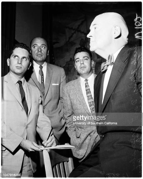 Narcotics trial , 17 June 1958. Louis Burke ;Louis Francis ;Donald L Grunsky ;Richard McGee;Karl Holton;Edwin J Reagan .;Caption slip reads:...