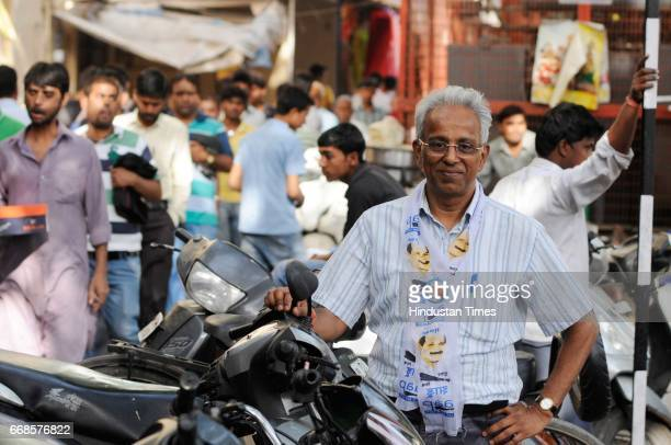 Narendra Bikuram Jain, of Aam Aadmi Party will be contesting for MCD polls from Chandni Chowk, on April 10, 2017 in New Delhi, India.