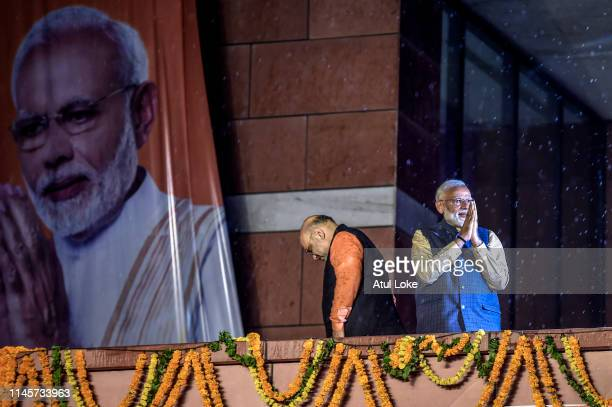 Narendra Modi acknoladge to the victorious party workers at the BJP party head quarters in New Delhi India Indian Prime Minister Narendra Modis...