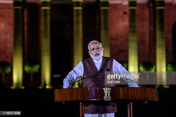 Narendra Modi addresses media outside the President House on May 25, 2019 in New Delhi, India. Bhartiya Janta Party and National Democratic Alliance...