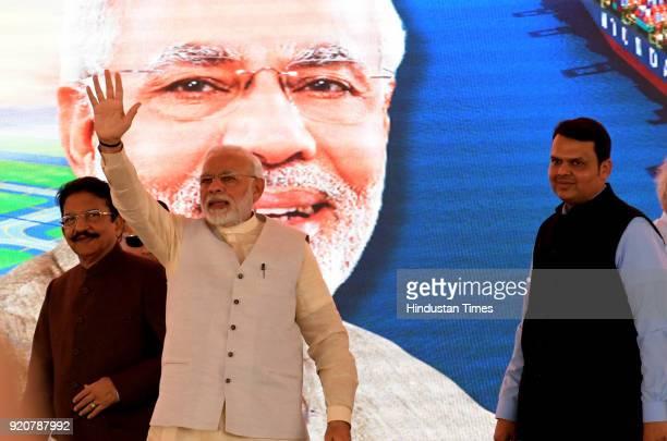 Narendra Modi and Maharashtra Governor C Vidyasagarrao CM of Maharashtra Devendra Fadnavis Nitin Gadkari Iinvited for ground breaking ceremony of...