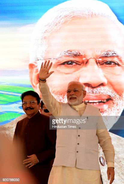 Narendra Modi and Maharashtra Governor C Vidyasagarrao CM of Maharashtra Devendra Fadnavis Nitin Gadkari invited for ground breaking ceremony of Navi...