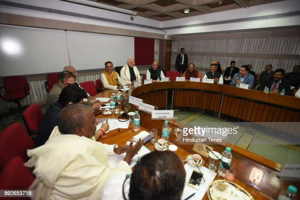 Narendra Modi and others at the all party meeting on the eve of winter session of Parliament on December 14 2017 in New Delhi India The winter...