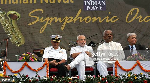 Narendra Modi Chief Minister of Gujarat at the function of The premier band of the Indian Navy the Naval Central Band was commissioned in 1945 with a...