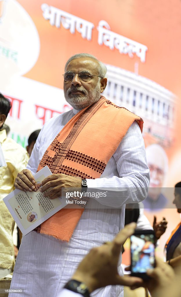 Narendra Modi during the BJP National Council meeting in New Delhi on Saturday.