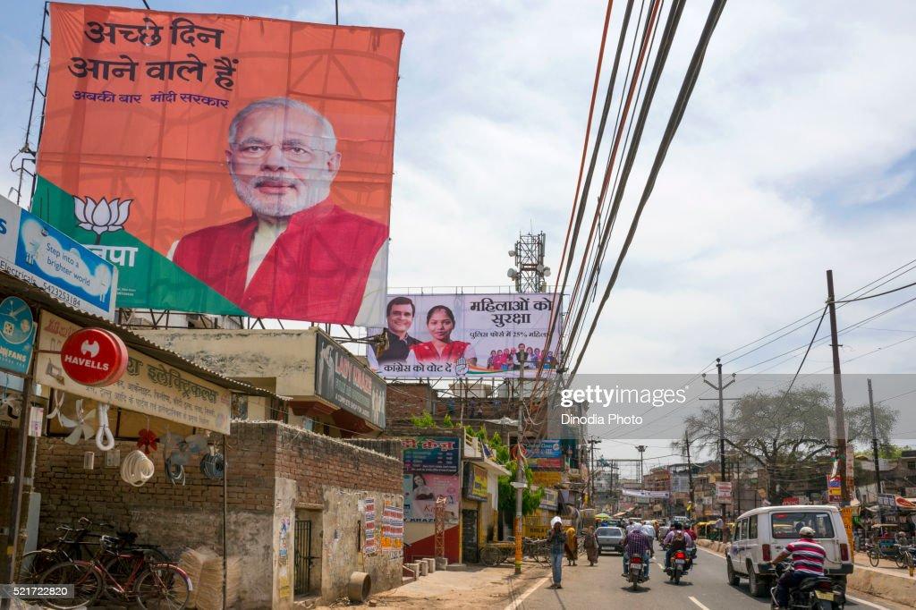 Narendra modi hoarding on street, Varanasi, uttar pradesh, India, Asia : Stock Photo