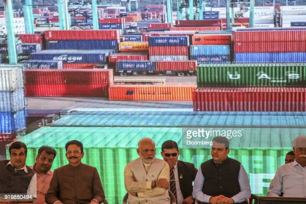 Narendra Modi India's prime minister center attends a ceremony at the site of the new Navi Mumbai International Airport in Navi Mumbai India on...