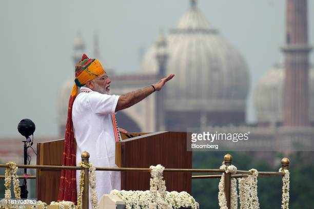 Narendra Modi, India's prime minister, delivers a speech during an event celebrating the nation's Independence Day at Red Fort in New Delhi, India,...