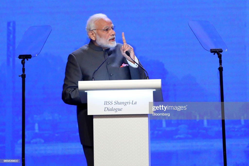 India Prime Minister Narendra Modi Delivers Keynote At The IISS Shangri-La Dialogue : News Photo