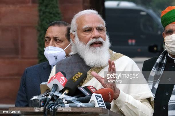 Narendra Modi, India's prime minister, during a news conference at Parliament House on the opening day of the Budget Session in New Delhi, India, on...