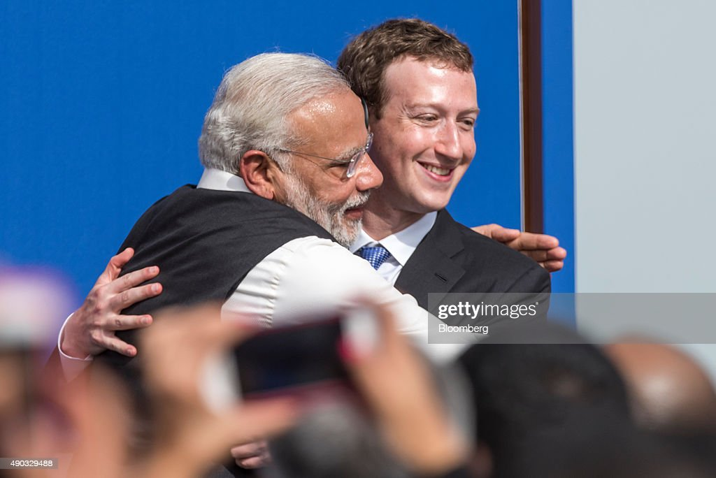 Indian Prime Minister Narendra Modi Meets With Facebook Inc. Chief Executive Officer Mark Zuckerberg : News Photo