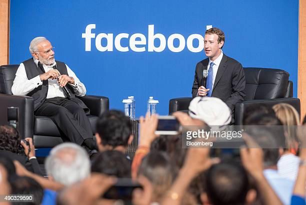 Narendra Modi India's prime minister left listens as Mark Zuckerberg chief executive officer of Facebook Inc speaks at Facebook headquarters in Menlo...