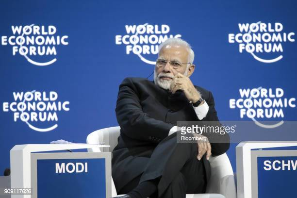 Narendra Modi India's prime minister looks on during a plenary session on the opening day of the World Economic Forum in Davos Switzerland on Tuesday...